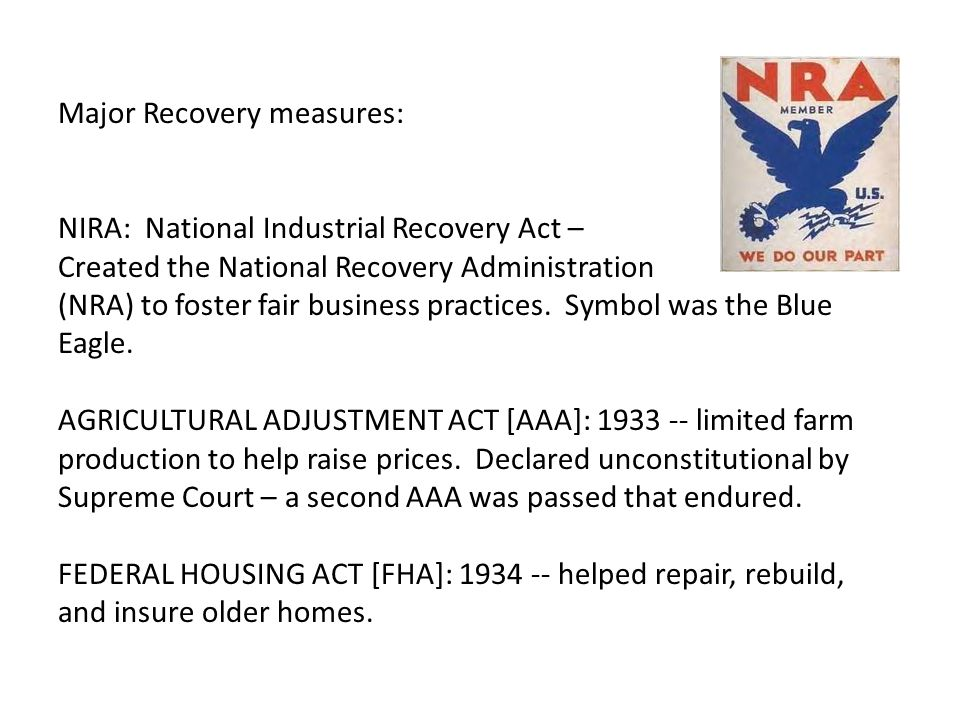Major Recovery measures: