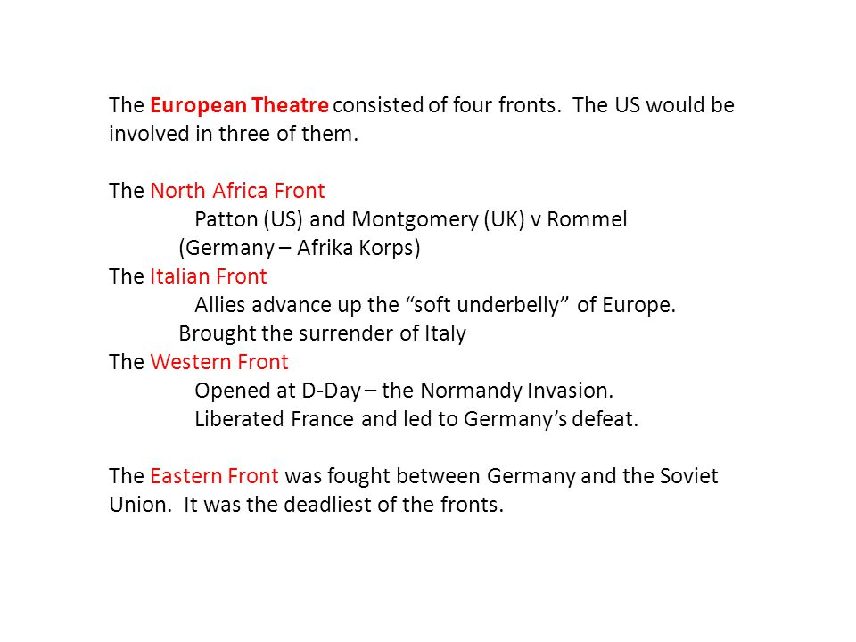 The European Theatre consisted of four fronts