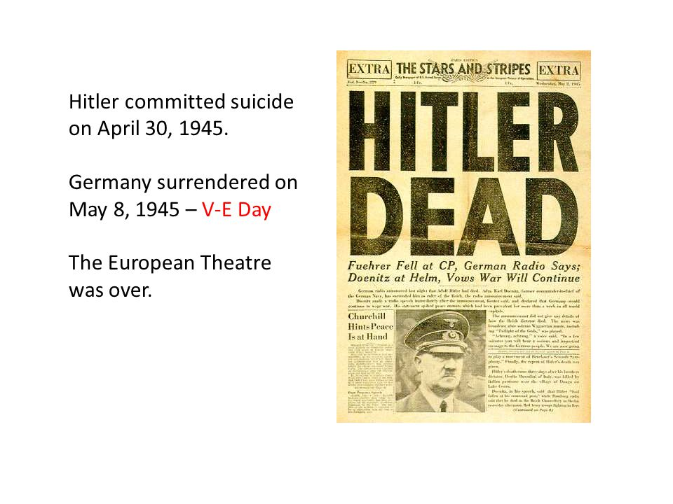 Hitler committed suicide on April 30, 1945.