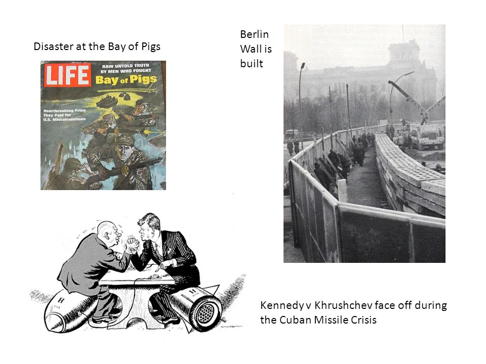Berlin Wall is built Disaster at the Bay of Pigs.