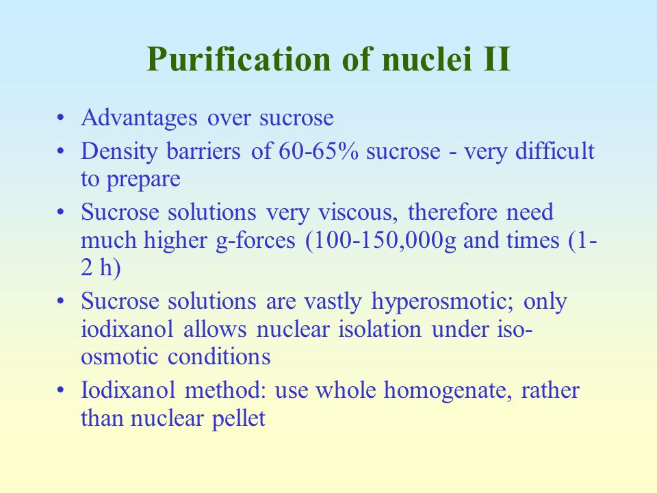 Purification of nuclei II