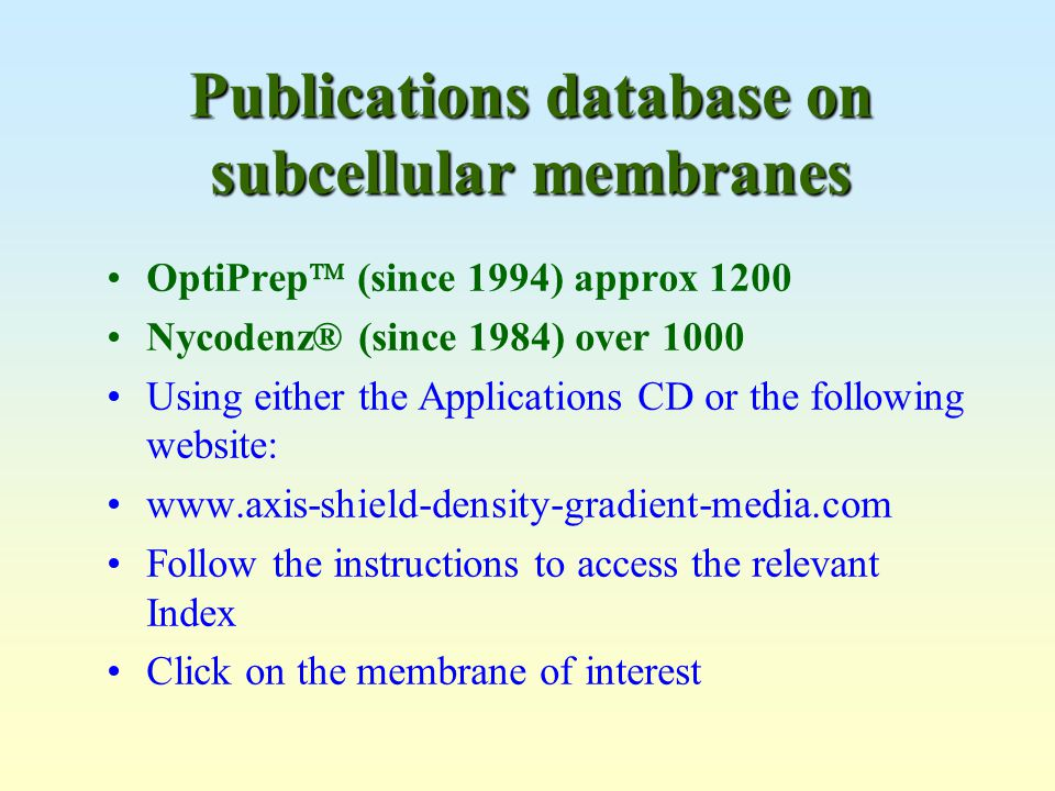 Publications database on subcellular membranes