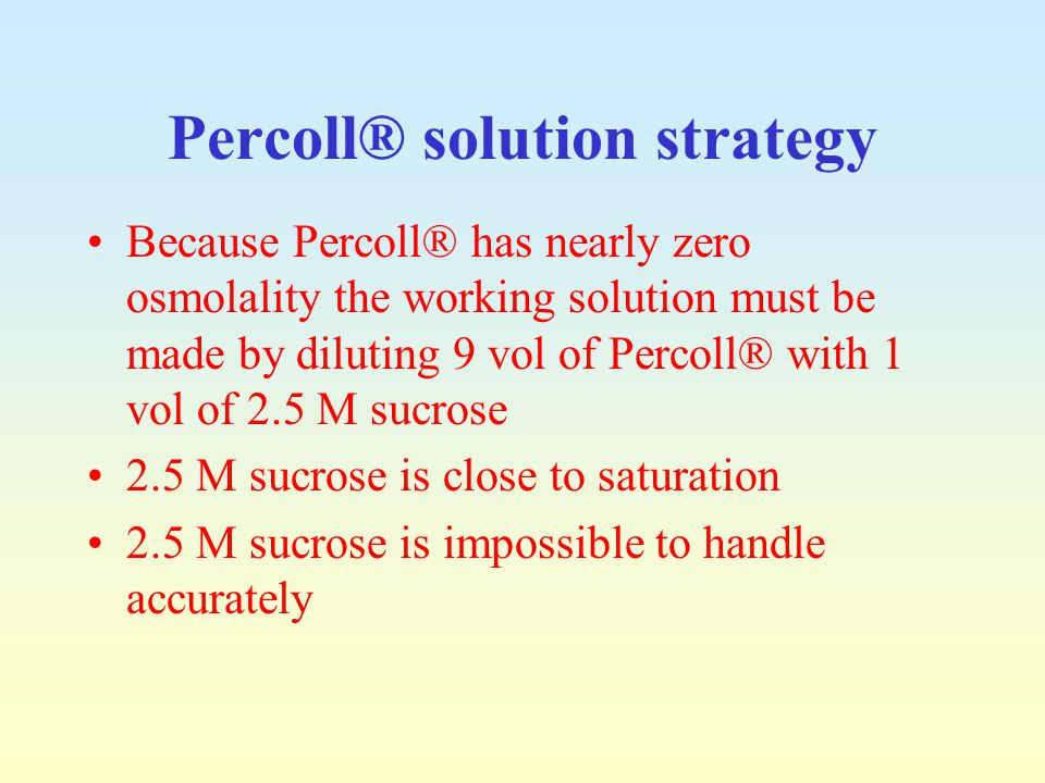 Percoll® solution strategy