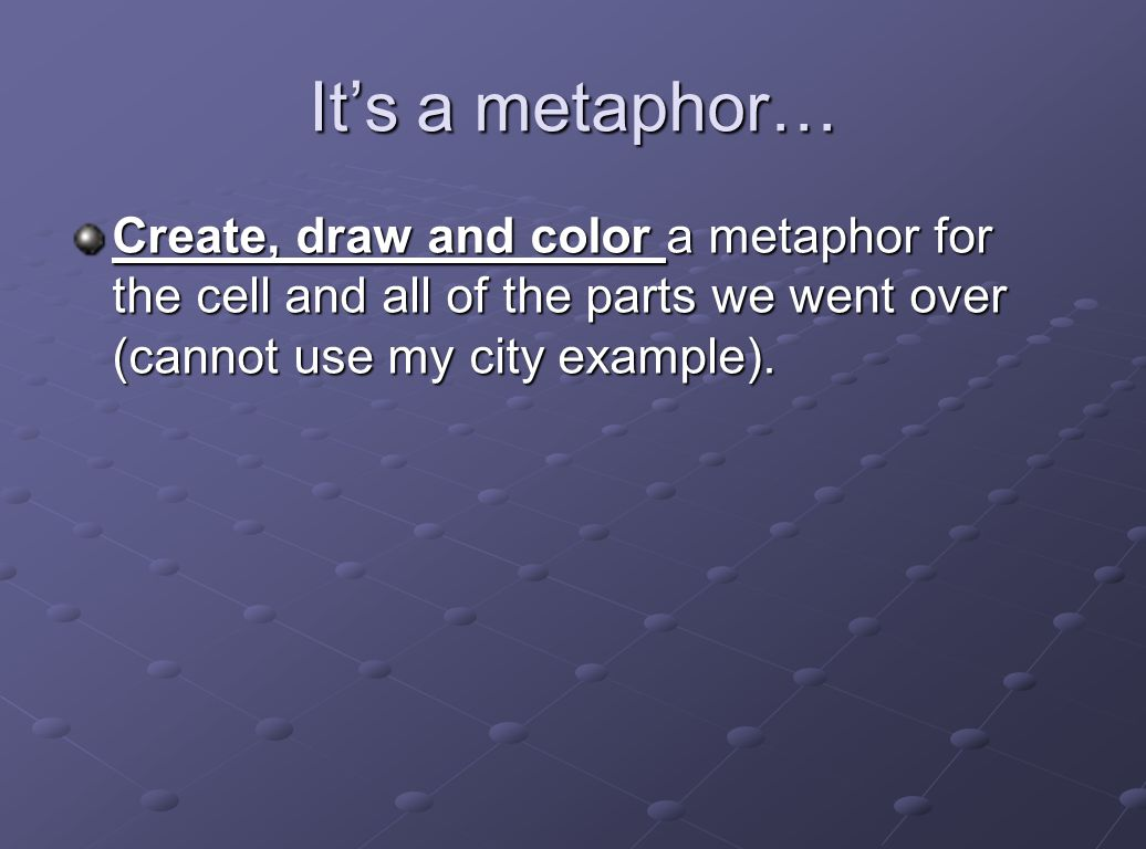 It's a metaphor… Create, draw and color a metaphor for the cell and all of the parts we went over (cannot use my city example).