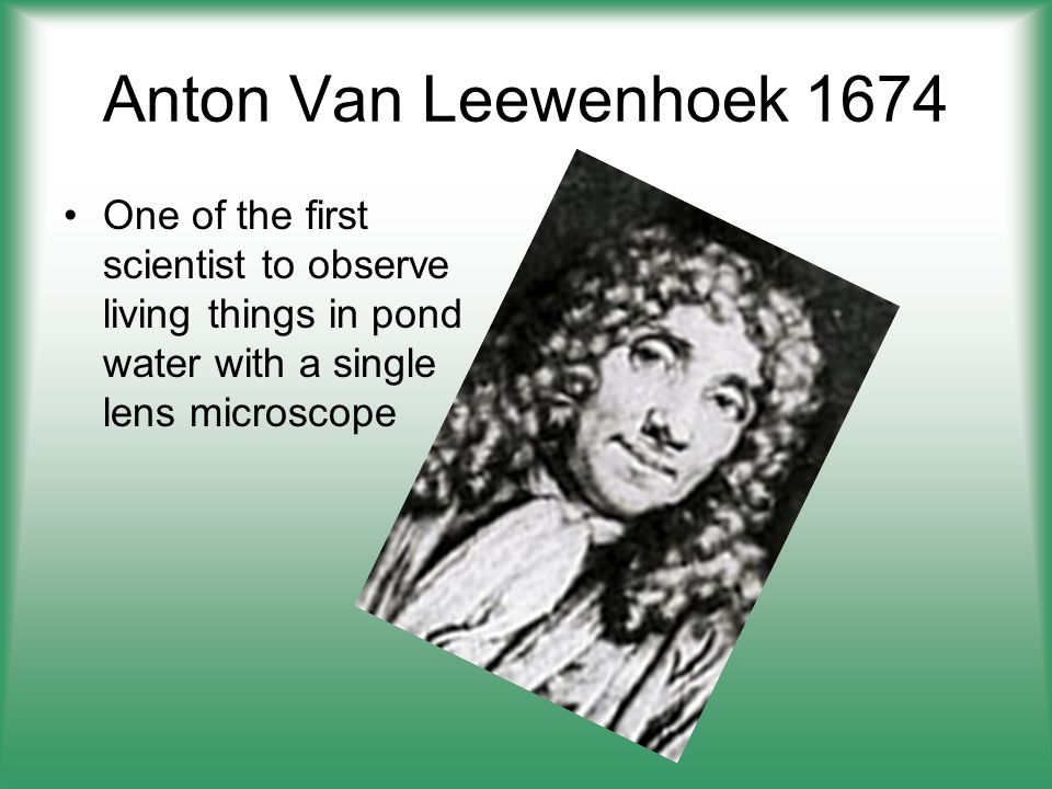 Anton Van Leewenhoek 1674 One of the first scientist to observe living things in pond water with a single lens microscope.