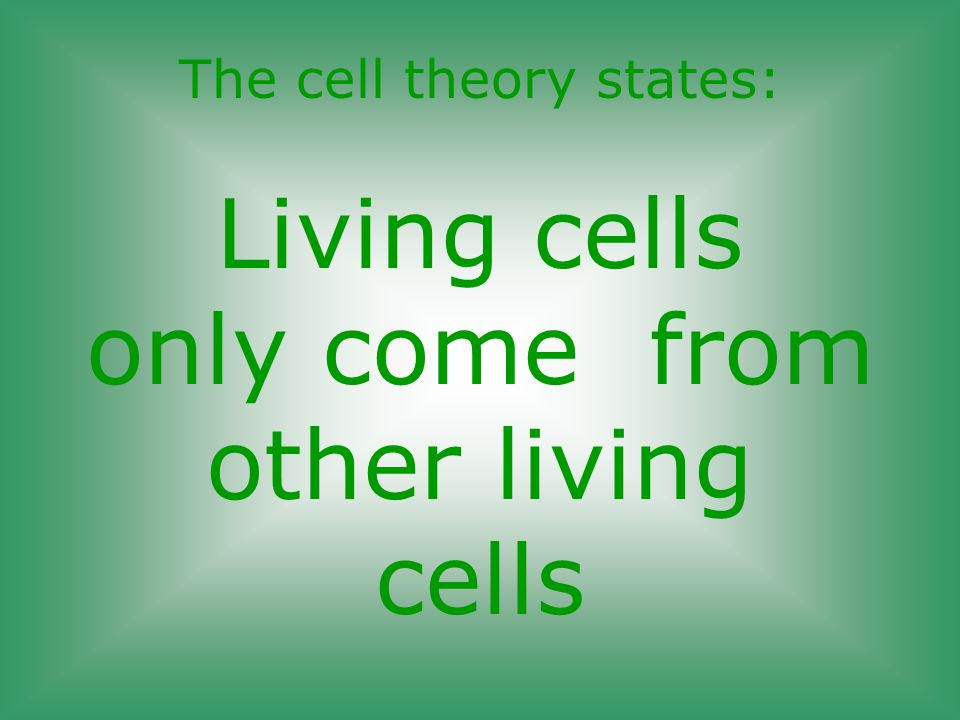 The cell theory states: