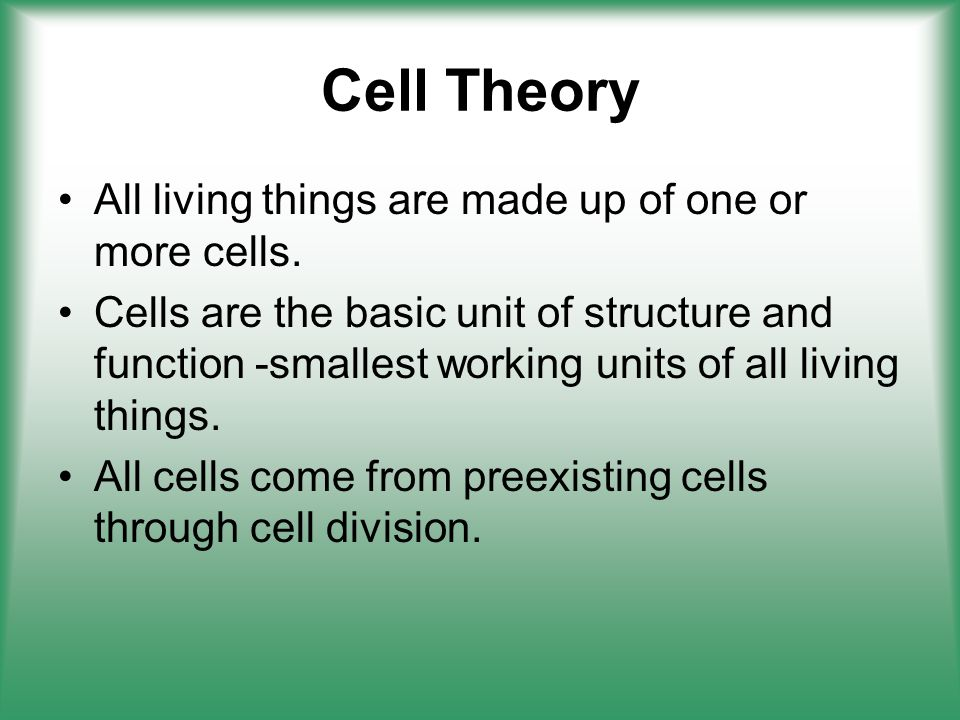 Cell Theory All living things are made up of one or more cells.