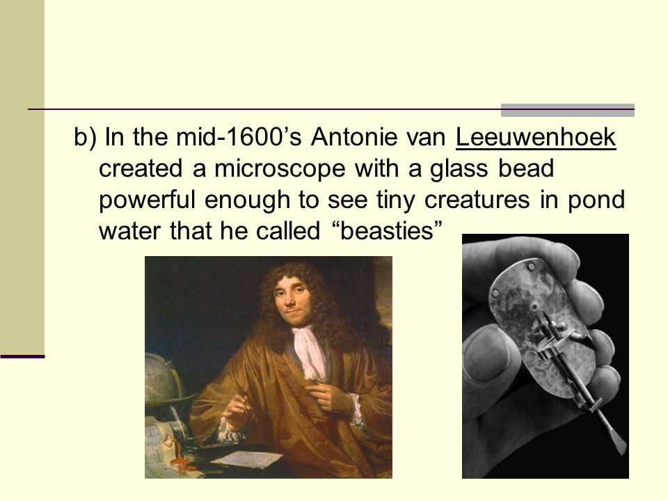 b) In the mid-1600's Antonie van Leeuwenhoek created a microscope with a glass bead powerful enough to see tiny creatures in pond water that he called beasties