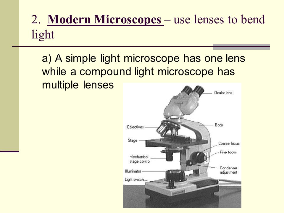 2. Modern Microscopes – use lenses to bend light