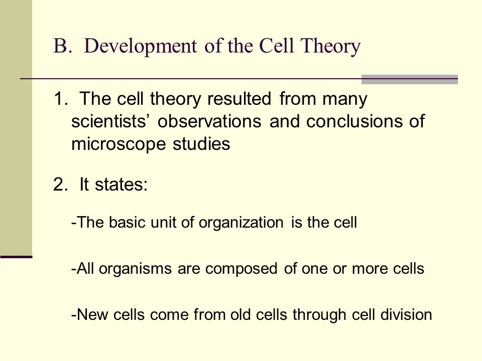 B. Development of the Cell Theory