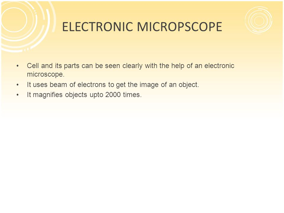 ELECTRONIC MICROPSCOPE
