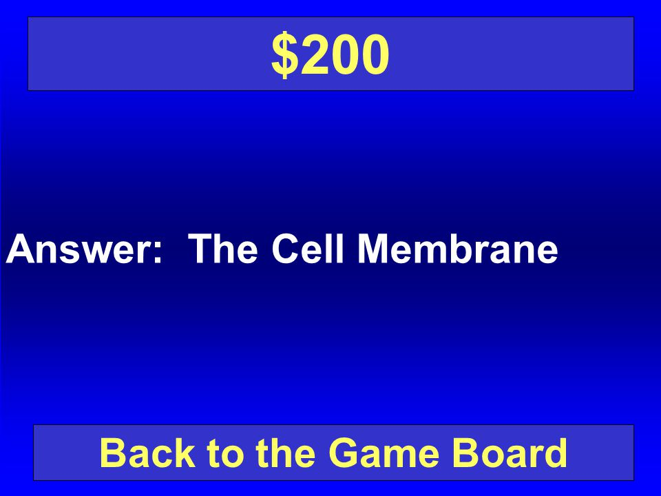 $200 Answer: The Cell Membrane Back to the Game Board