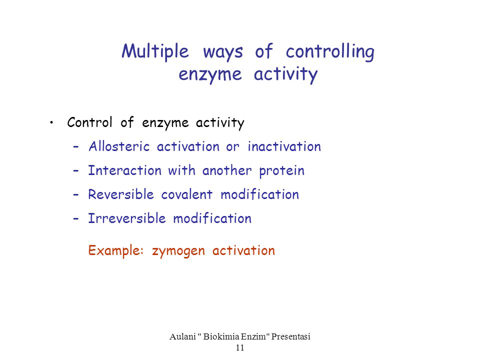 Multiple ways of controlling enzyme activity