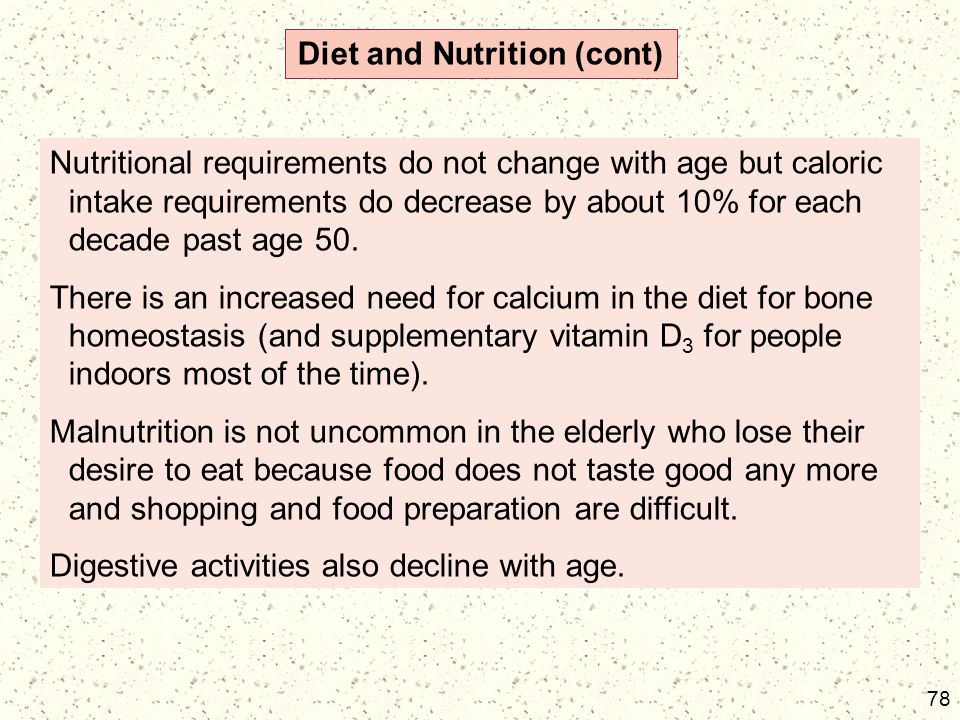 Diet and Nutrition (cont)