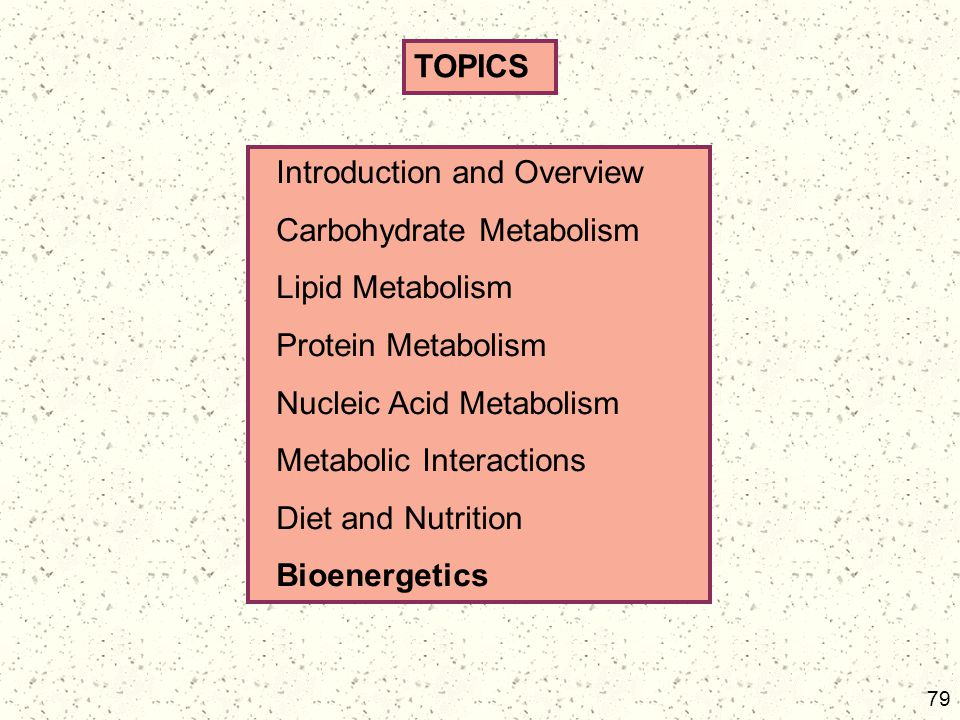 TOPICS Introduction and Overview. Carbohydrate Metabolism. Lipid Metabolism. Protein Metabolism.