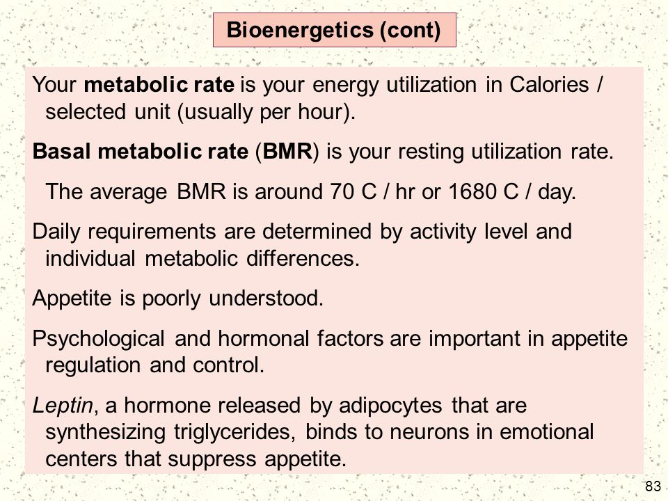 Bioenergetics (cont) Your metabolic rate is your energy utilization in Calories / selected unit (usually per hour).
