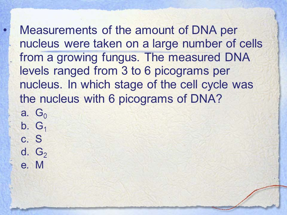 Measurements of the amount of DNA per nucleus were taken on a large number of cells from a growing fungus. The measured DNA levels ranged from 3 to 6 picograms per nucleus. In which stage of the cell cycle was the nucleus with 6 picograms of DNA