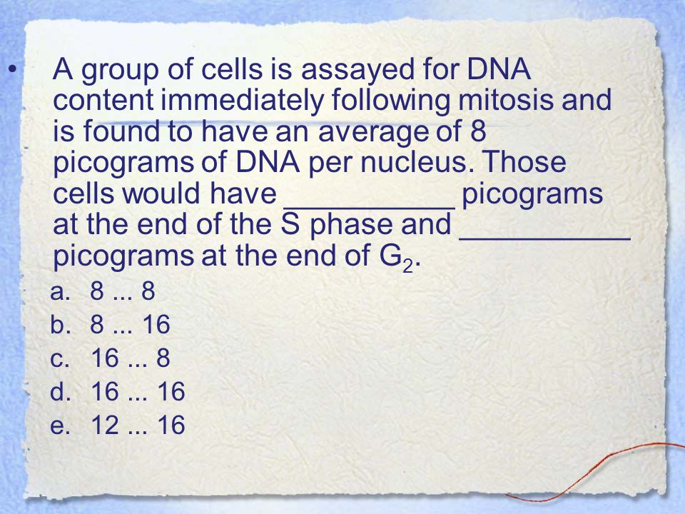 A group of cells is assayed for DNA content immediately following mitosis and is found to have an average of 8 picograms of DNA per nucleus. Those cells would have __________ picograms at the end of the S phase and __________ picograms at the end of G2.