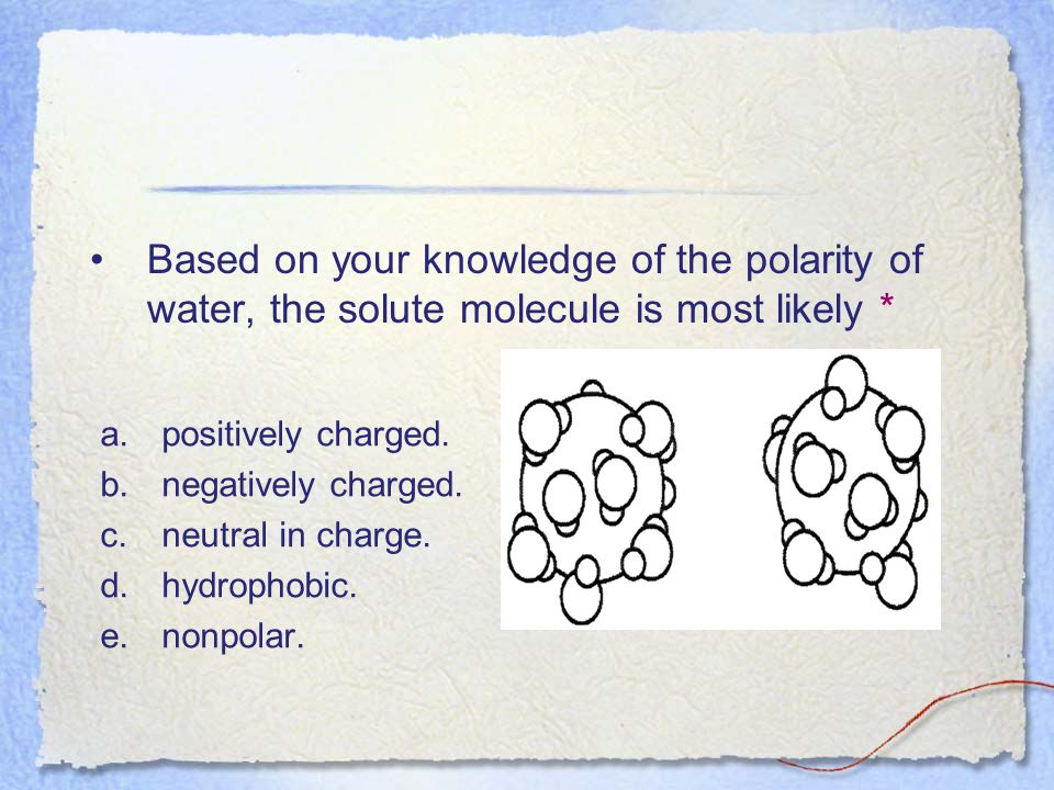 Based on your knowledge of the polarity of water, the solute molecule is most likely *