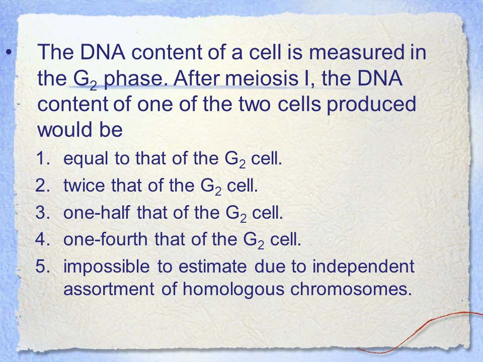 The DNA content of a cell is measured in the G2 phase. After meiosis I, the DNA content of one of the two cells produced would be