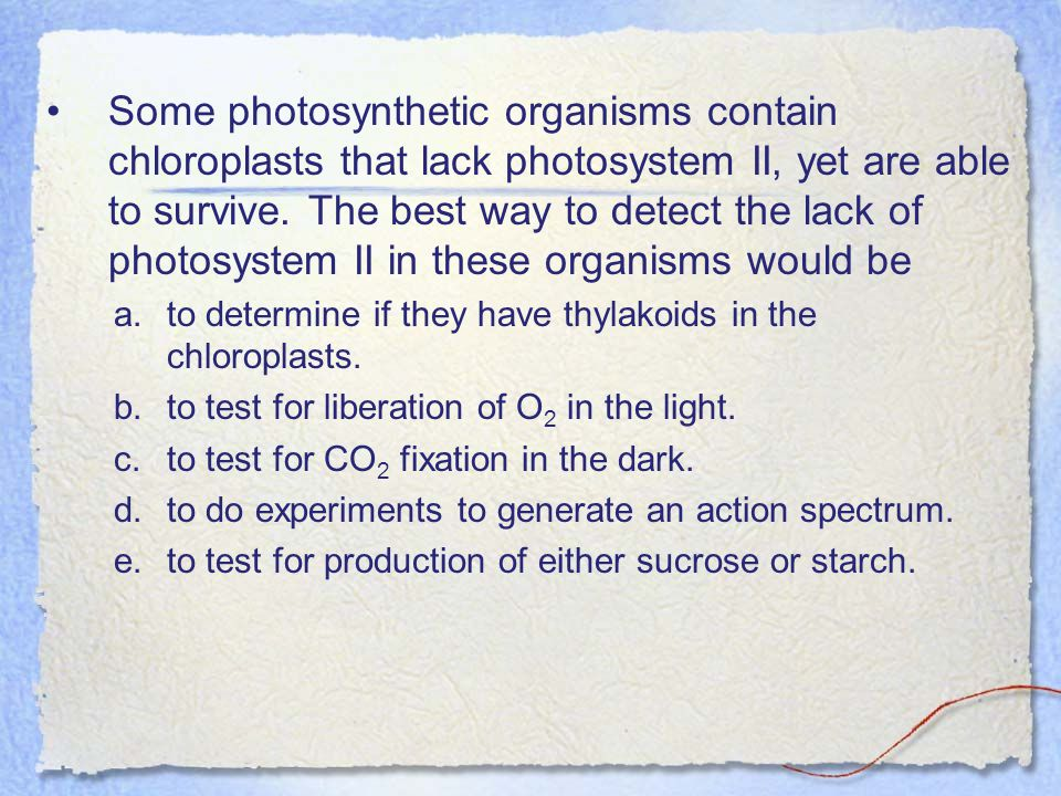 Some photosynthetic organisms contain chloroplasts that lack photosystem II, yet are able to survive. The best way to detect the lack of photosystem II in these organisms would be