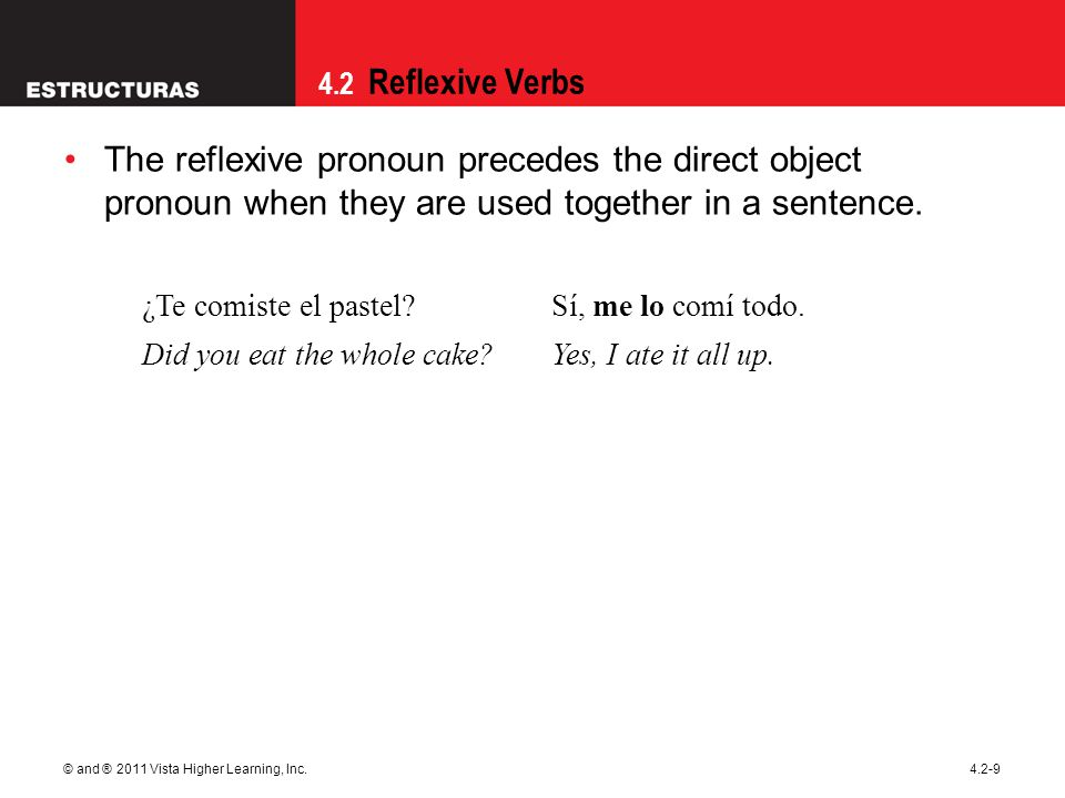 09/28/09 The reflexive pronoun precedes the direct object pronoun when they are used together in a sentence.