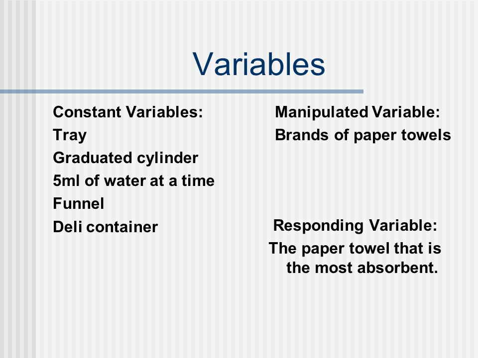 Variables Constant Variables: Tray Graduated cylinder 5ml of water at a time Funnel Deli container