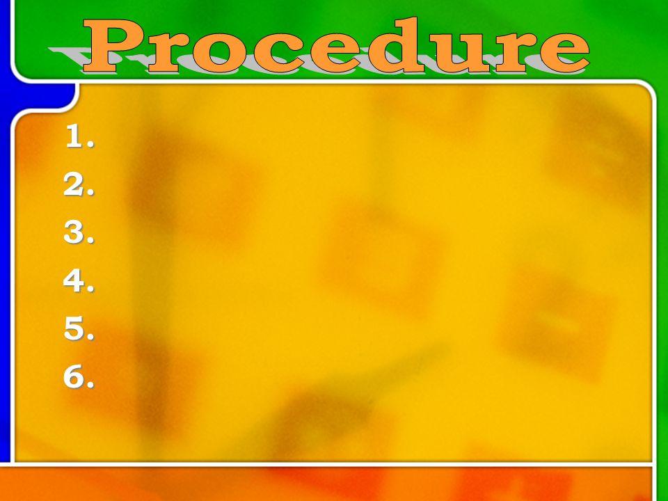 Procedure 1. 2. 3. 4. 5. 6.