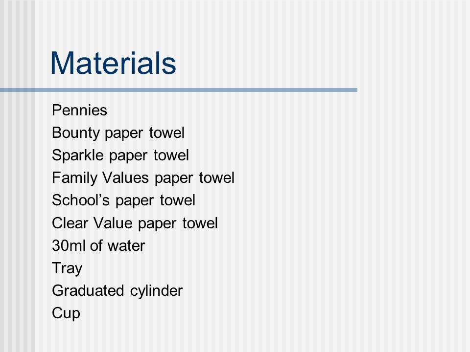 Materials Pennies Bounty paper towel Sparkle paper towel