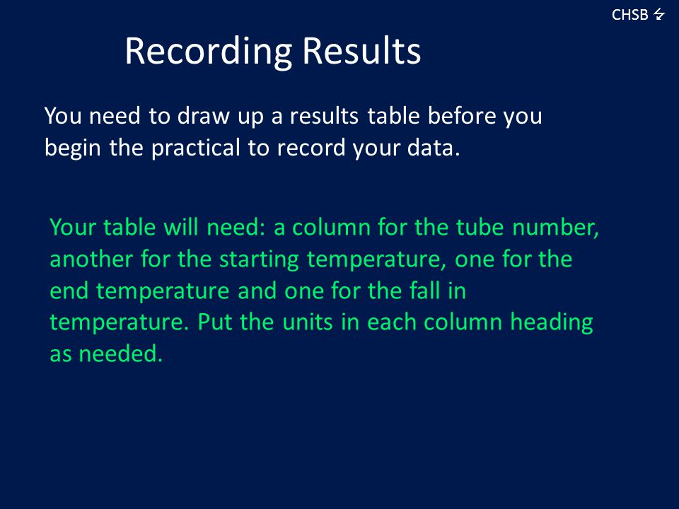 CHSB  Recording Results. You need to draw up a results table before you begin the practical to record your data.