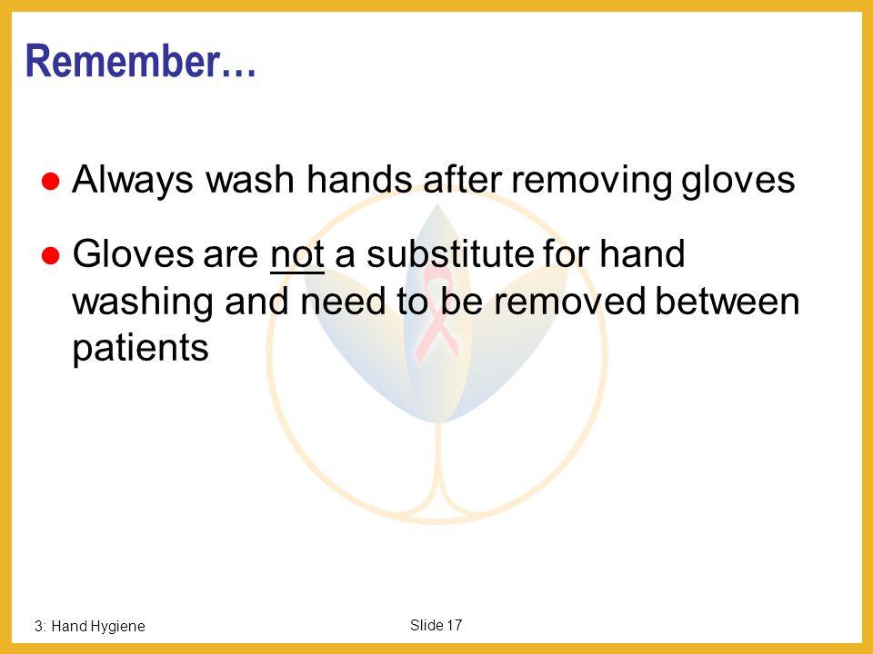 Remember… Always wash hands after removing gloves