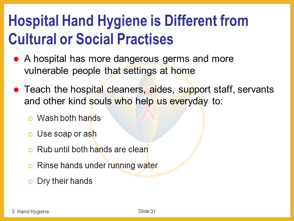 Hospital Hand Hygiene is Different from Cultural or Social Practises