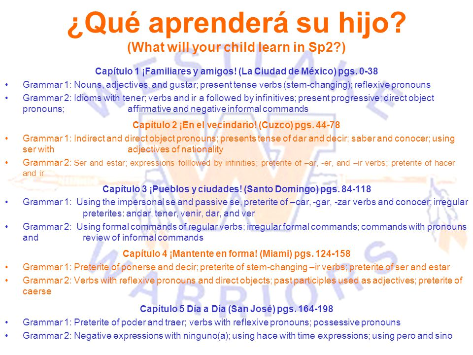 ¿Qué aprenderá su hijo (What will your child learn in Sp2 )