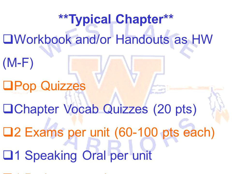 **Typical Chapter** Workbook and/or Handouts as HW (M-F) Pop Quizzes. Chapter Vocab Quizzes (20 pts)