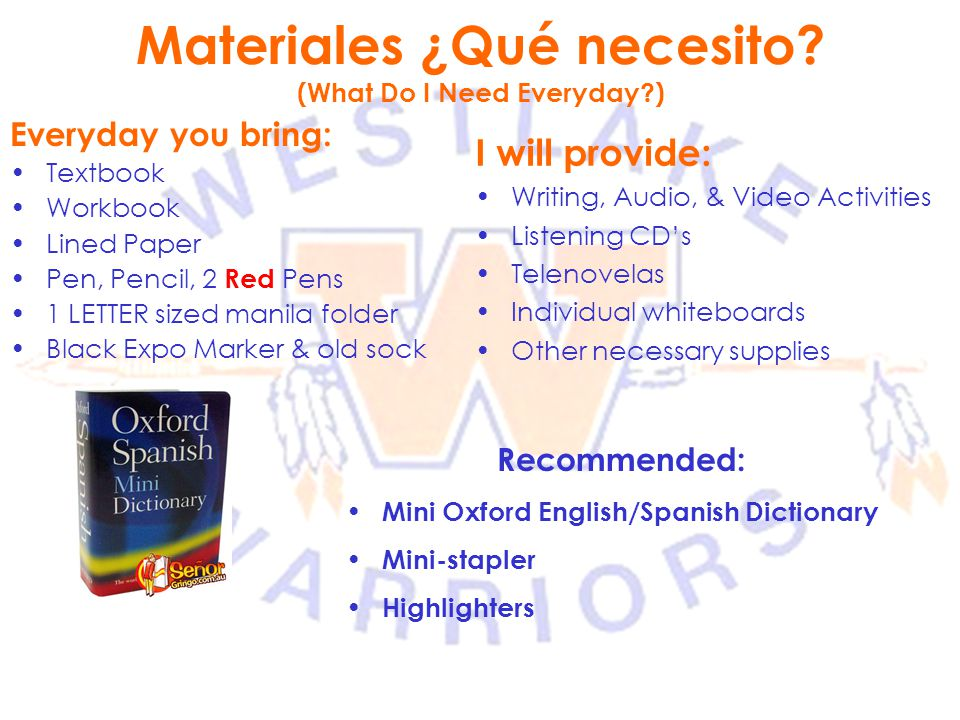 Materiales ¿Qué necesito (What Do I Need Everyday )