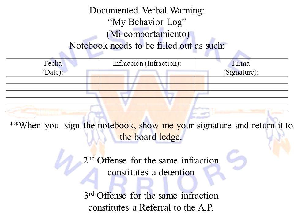 Documented Verbal Warning: My Behavior Log (Mi comportamiento)
