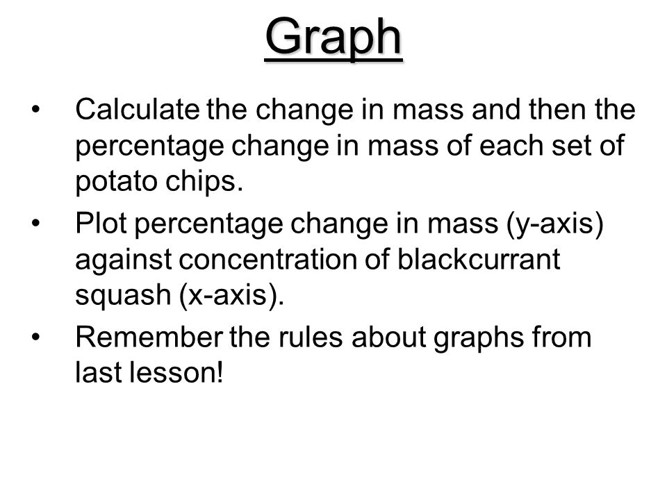 Graph Calculate the change in mass and then the percentage change in mass of each set of potato chips.