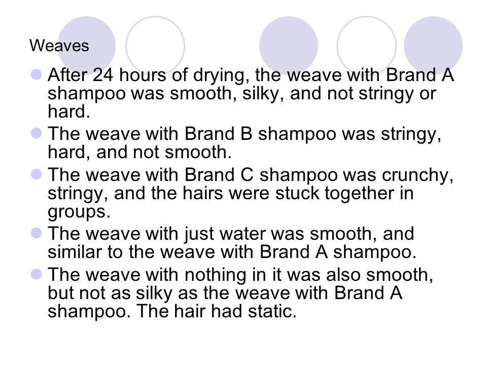 The weave with Brand B shampoo was stringy, hard, and not smooth.