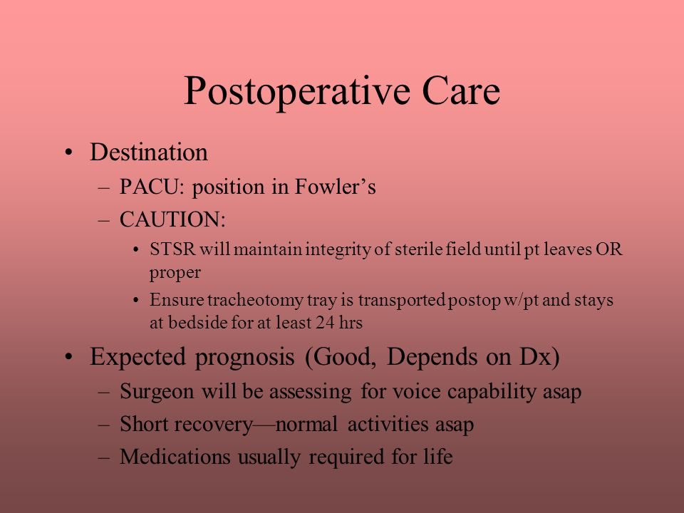 Postoperative Care Destination