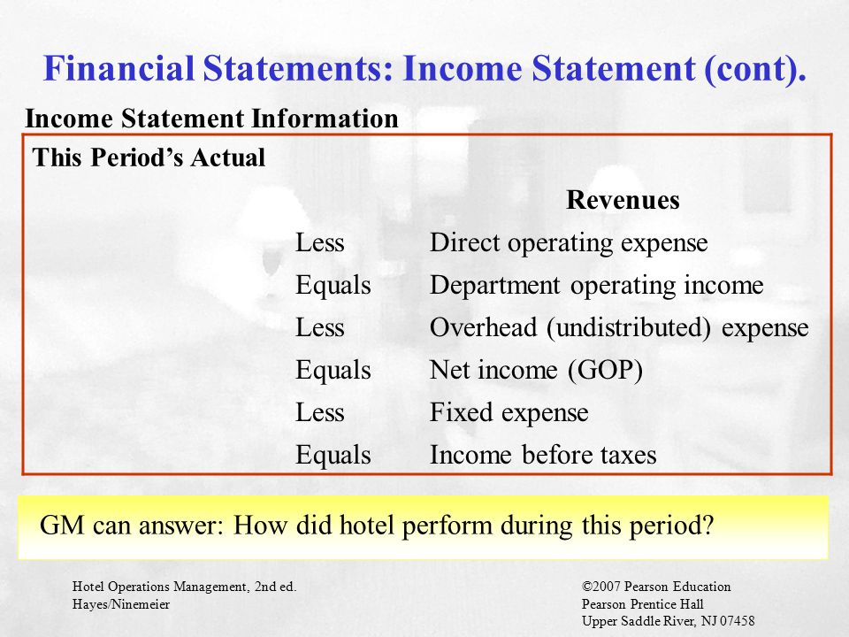 Financial Statements: Income Statement (cont).