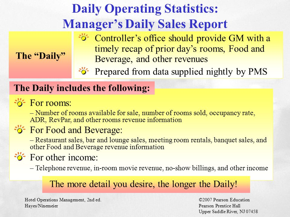 Daily Operating Statistics: Manager's Daily Sales Report