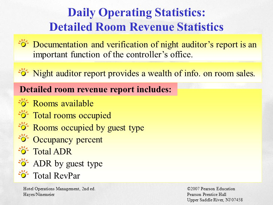 Daily Operating Statistics: Detailed Room Revenue Statistics