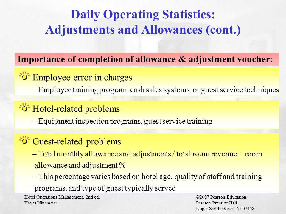 Daily Operating Statistics: Adjustments and Allowances (cont.)