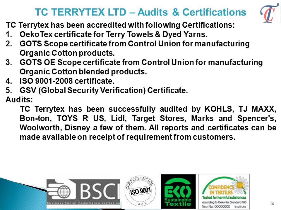 TC TERRYTEX LTD – Audits & Certifications
