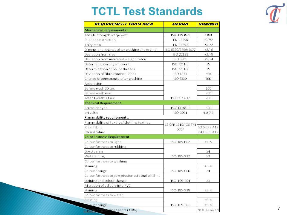 TCTL Test Standards