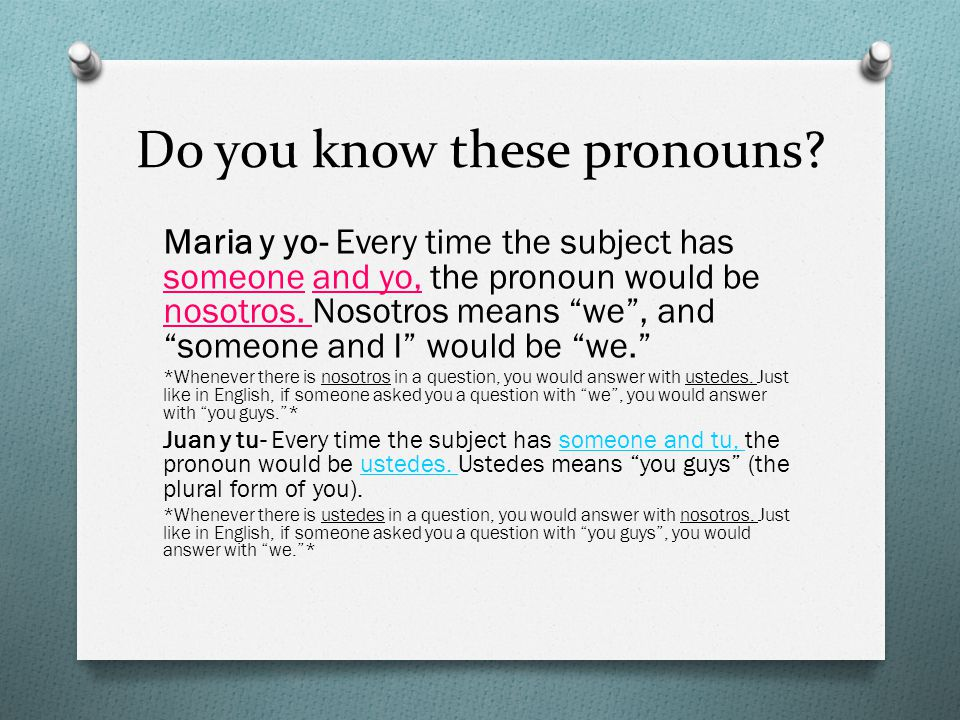 Do you know these pronouns
