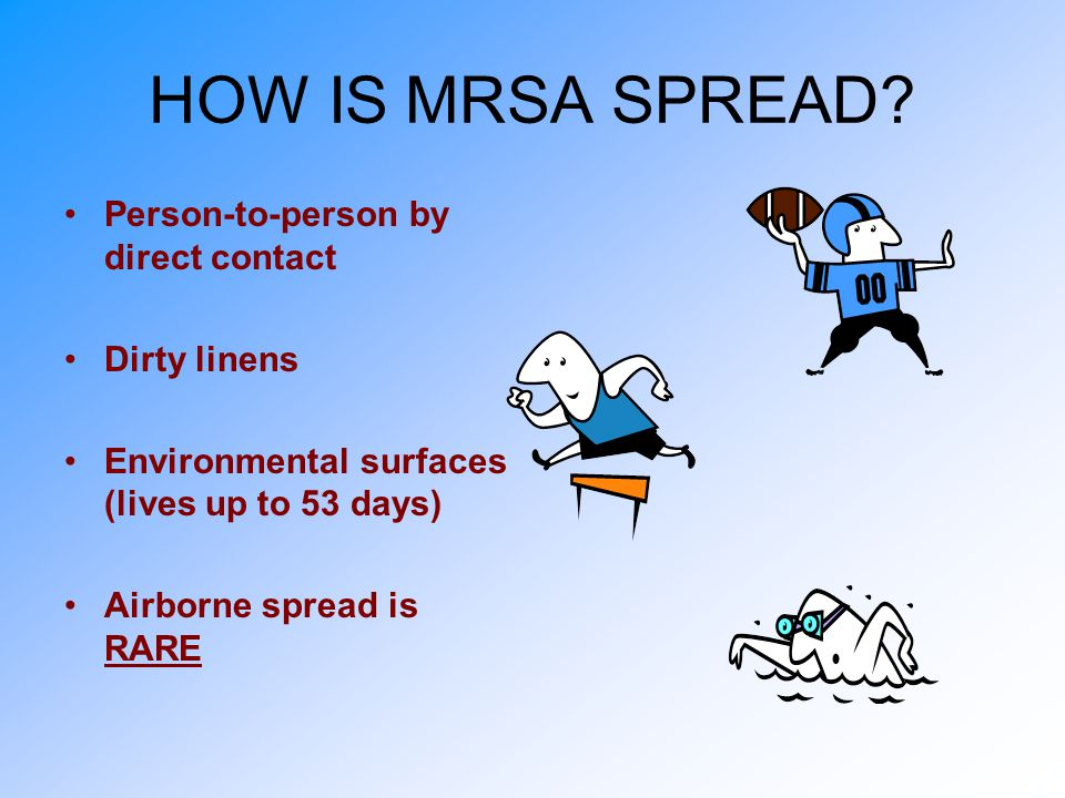 HOW IS MRSA SPREAD Person-to-person by direct contact Dirty linens