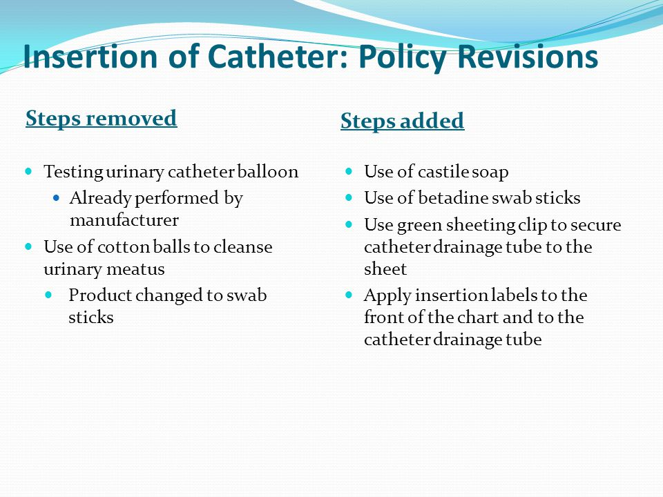 Insertion of Catheter: Policy Revisions