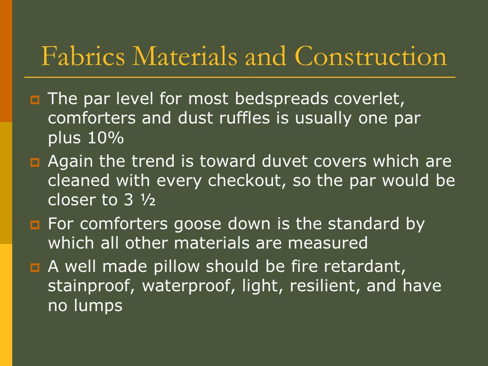 Fabrics Materials and Construction