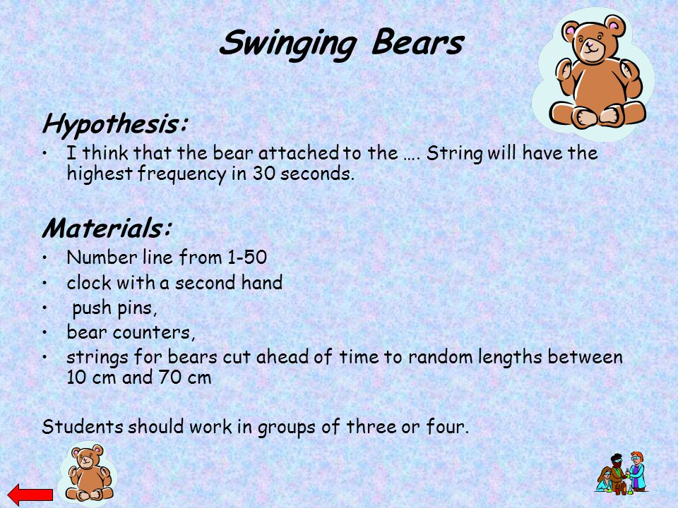 Swinging Bears Hypothesis: Materials: